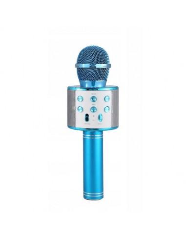 niebieski bezprzewodowy mikrofon karaoke dla dzieci