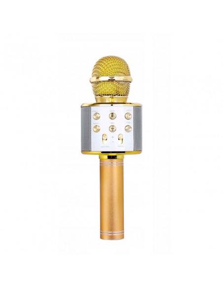 złoty bezprzewodowy mikrofon karaoke dla dzieci